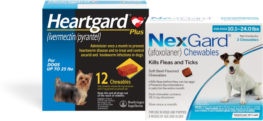 package of HeartGard and NexGard next to each other